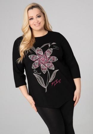 Czarna tunika XXL z motywem kwiatowym