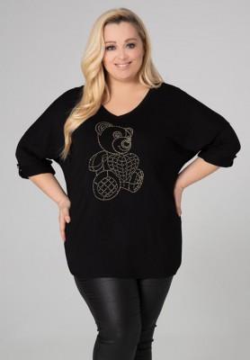 Czarna bluzka plus size z motywem