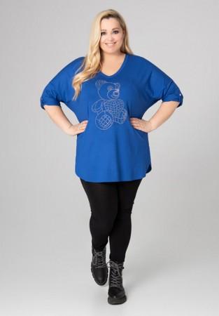 Niebieska bluzka XXL z motywem