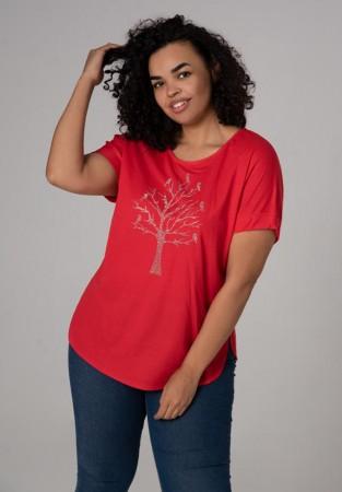 Czerwona bluzka XXL Z nadrukiem drzewa 