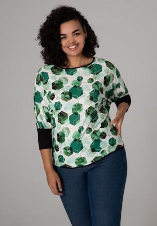 Bluzka XXL w odcieniach zieleni