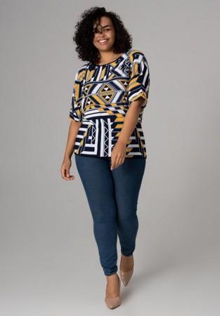 Wzorzysta bluzka w dużym rozmiarze