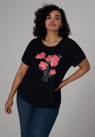 Czarna bluzka plus size z kwiatami