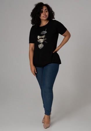 Czarna bluzka XXL ze srebrnym nadrukiem
