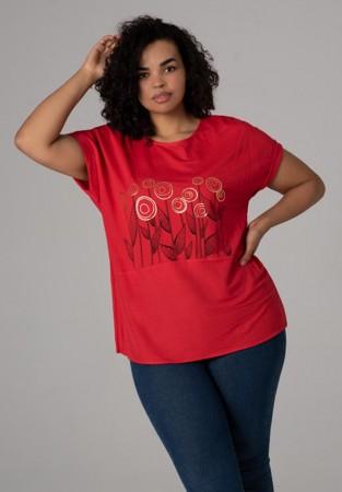 Elegancka bluzka w czerwieni z motywem