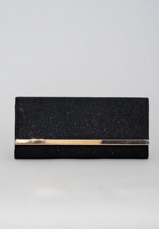 Czarna torba kopertowa ze wstawką imitującą złoto