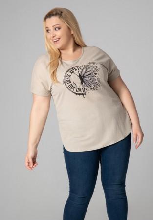 Kremowa bluzka plus size z oryginalnym motywem