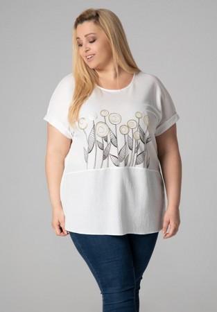 Koszulowa bluzka plus size z motywem