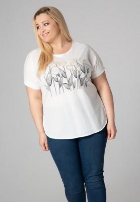 Biała bluzka plus size z motywem