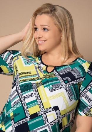 PREMIUM Bluzka plus size we wzory geometryczne