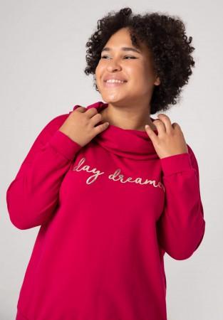 Koralowa bluza plus size z napisem