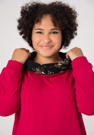 Bawełniana bluza plus size z barwnym kołnierzykiem