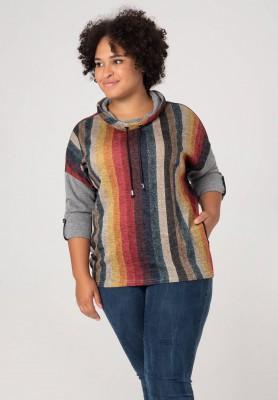 Wielokolorowy sweter XXL w pasy