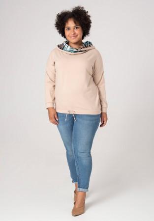 Bluza plus size w barwie kremu z kołnierzykiem