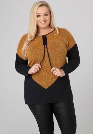 Sweterek XXL bukla z dodatkami ekoskóry