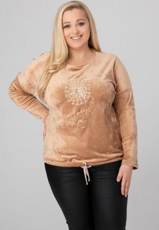 Bluza Plus Size welur dmuchawiec w kolorze jasnego karmelu
