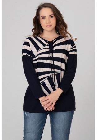 Bluzka XXL zebra, ściągana pod szyją