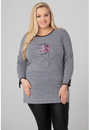 Tunika sweter dla puszystych aplikacja kwiat GRAND