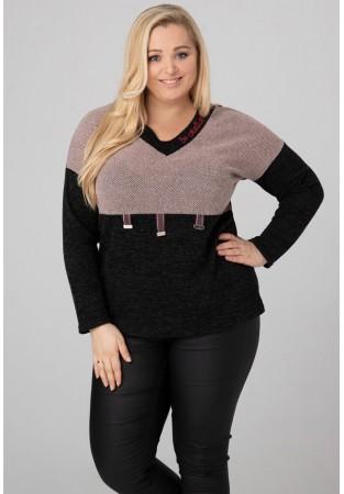 Sweter tunika dla puszystych z klamerkami