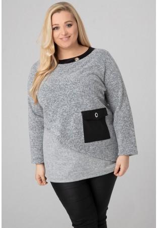 Tunika sweter XXL dodatki z ekoskóry