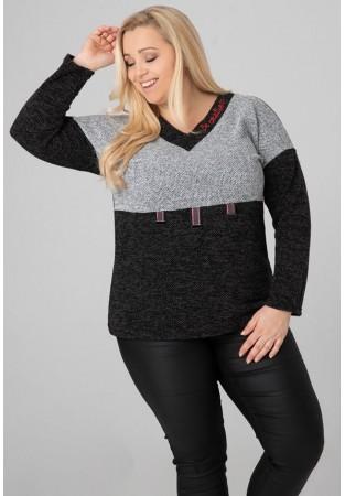 Sweter tunika XXL z klamerkami