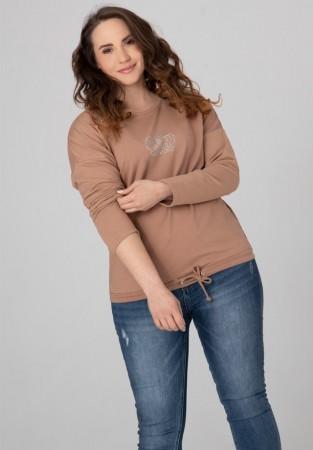 Bluza Plus Size dżetowa z koroną