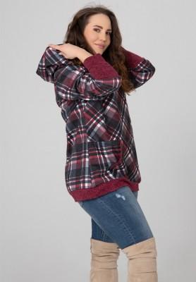Bluza Plus Size z Kapturem Bordowa Kratka