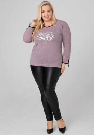 Bluzka sweter Plus Size aplikacja drzewko srebrne