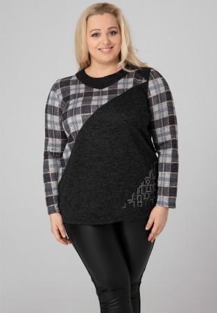 Tunika sweter Plus Size kratka aplikacja z dżetów