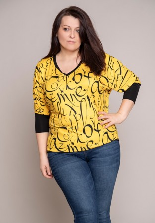 Bluzka kimono z szerokim ściągaczem żółta