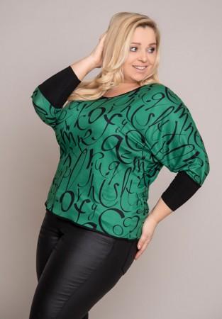 Zielona bluzka w literowy wzór
