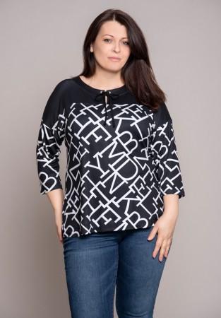 Ciemna bluzka z wiązaniem w literowy wzór