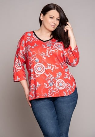 Koralowa bluzka z orientalnym wzorem