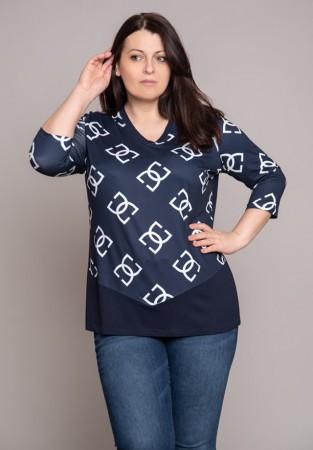 Ciemna bluzka z wzorem w białe litery