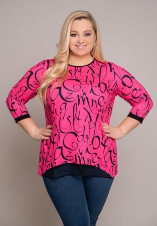 Różowa bluzka XXL we wzory