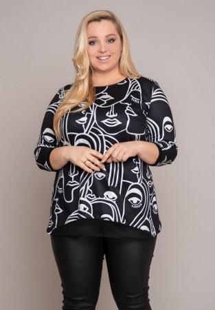 Czarna bluzka XXL z modnym motywem